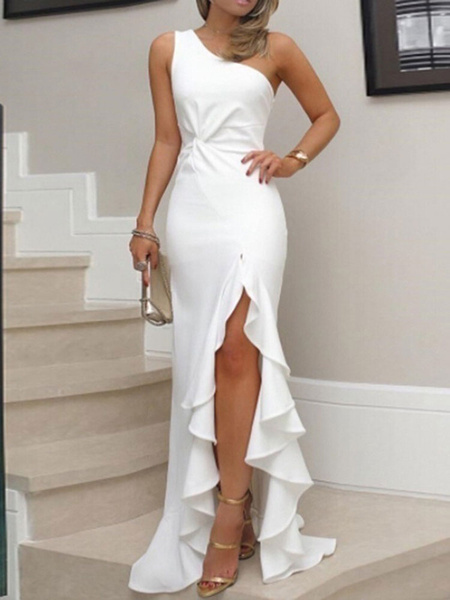 Milanoo White Maxi Dresses Women One Shoulder Sleeveless Ruffle Floor Length Dress