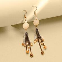 Metal Tassel Charm Drop Earrings