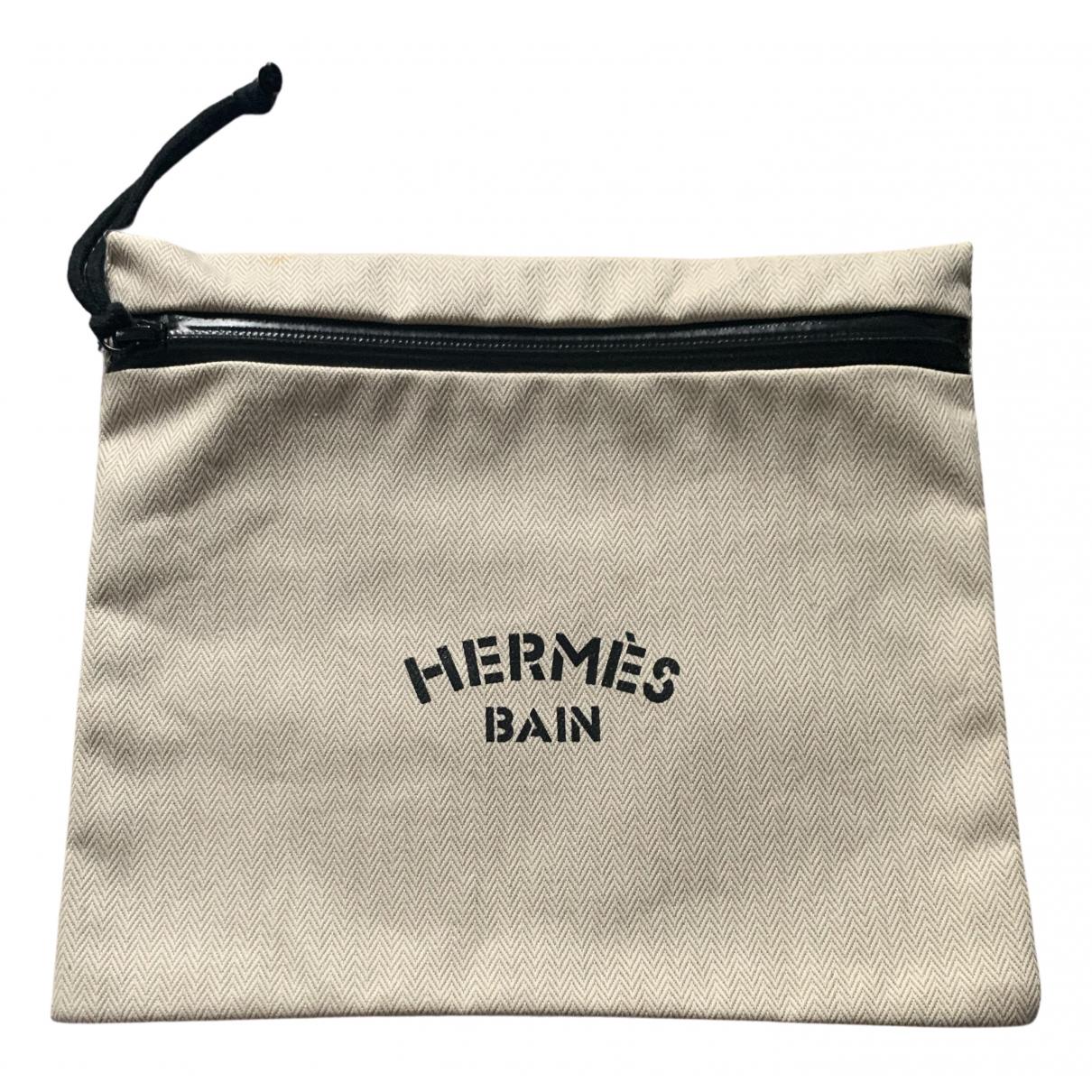 Hermes - Pochette   pour femme en toile - beige