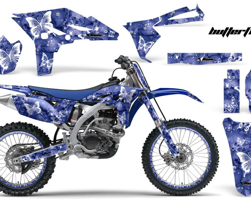 AMR Racing Graphics MX-NP-YAM-YZ250F-10-13-BF W U Kit Decal Sticker Wrap + # Plates For Yamaha YZ250F 2010-2013 BUTTERFLIES WHITE BLUE