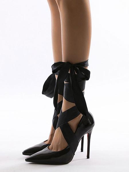 Milanoo Sexy Stiletto Pumps Patent PU Ankle Lace Strap Sexy Women\'s Shoes