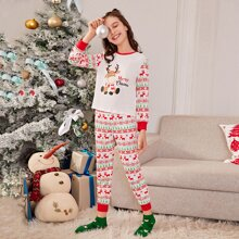 Girls Christmas Print Tee & Pants PJ Set