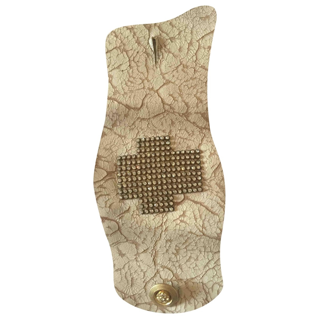Non Signe / Unsigned Manchette Armband in  Beige Leder