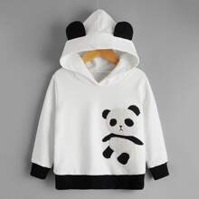 Toddler Boys 3D Ear Design Teddy Panda Patched Hoodie