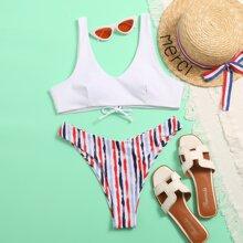 Striped High Cut Bikini Swimsuit