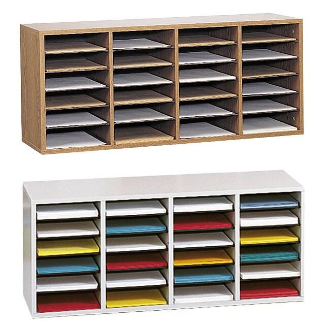 Safco Adjustable Wood Letter-size 24-compartment Literature Sorter (Oak)