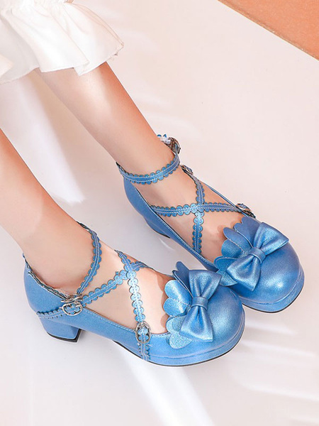 Milanoo Sweet Lolita Pumps Bows Round Toe PU Leather Lolita Shoes