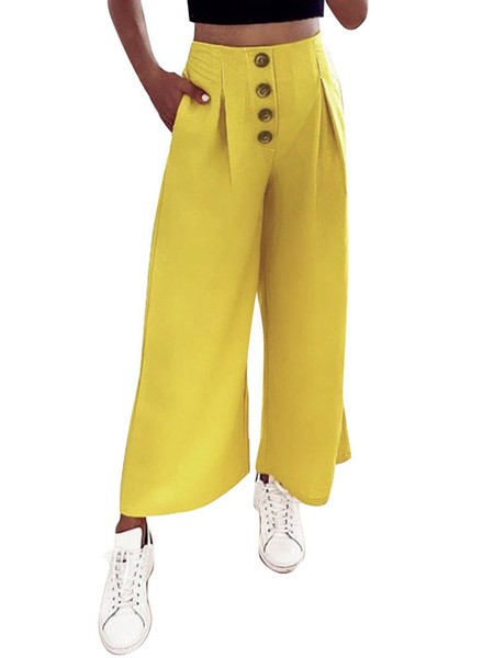 Milanoo Pantalones anchos Botones rosas Pantalones de mezcla de algodon de cintura alta