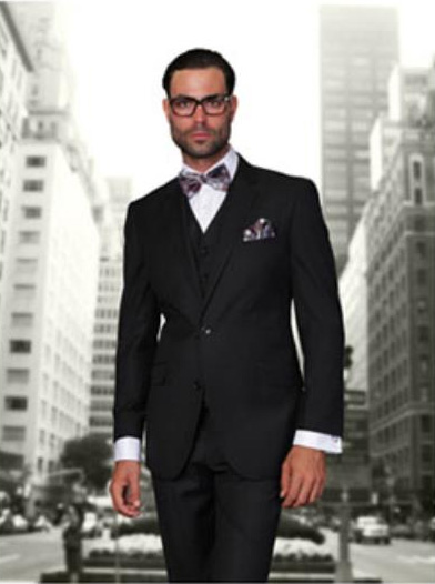 Men's Black 2 Button Modern Fit Wool Suit