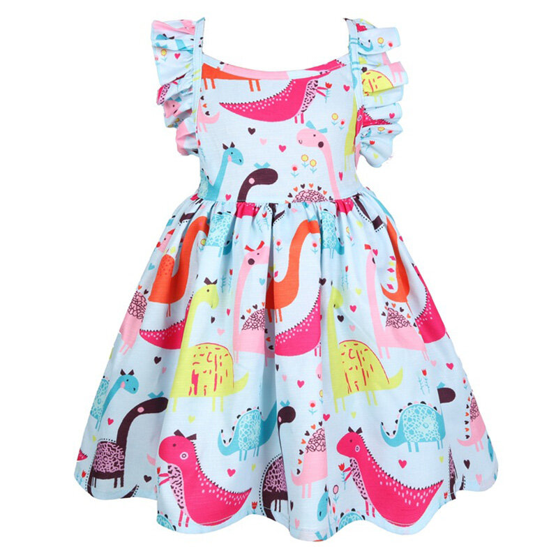 Dinosaur Pattern Girls Sleeveless Casual Dress For 3-11Years