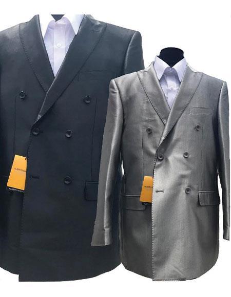 Alberto Nardoni Shiny Double Pleated Pants In Silver Grey or Black