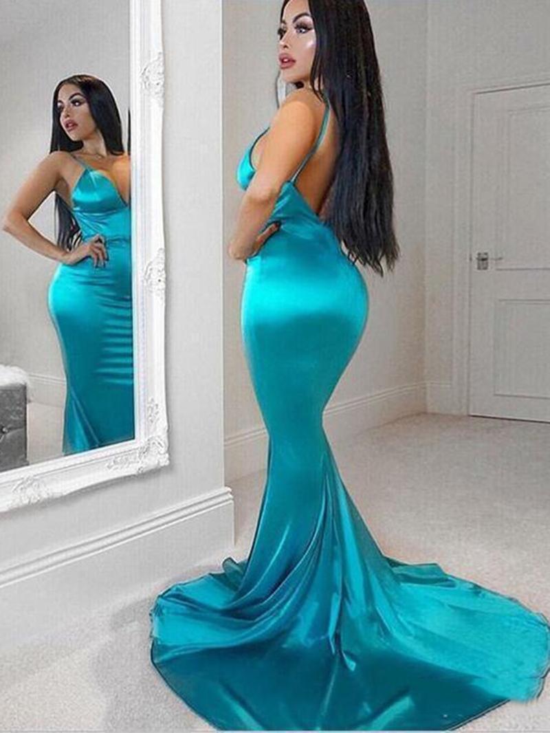 Ericdress Spaghetti Straps Backless Mermaid Evening Dress
