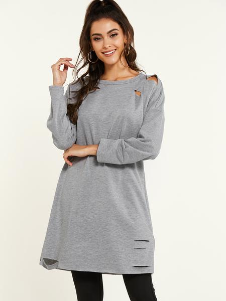YOINS Grey Ripped Design Round Neck Long Sleeves Dress