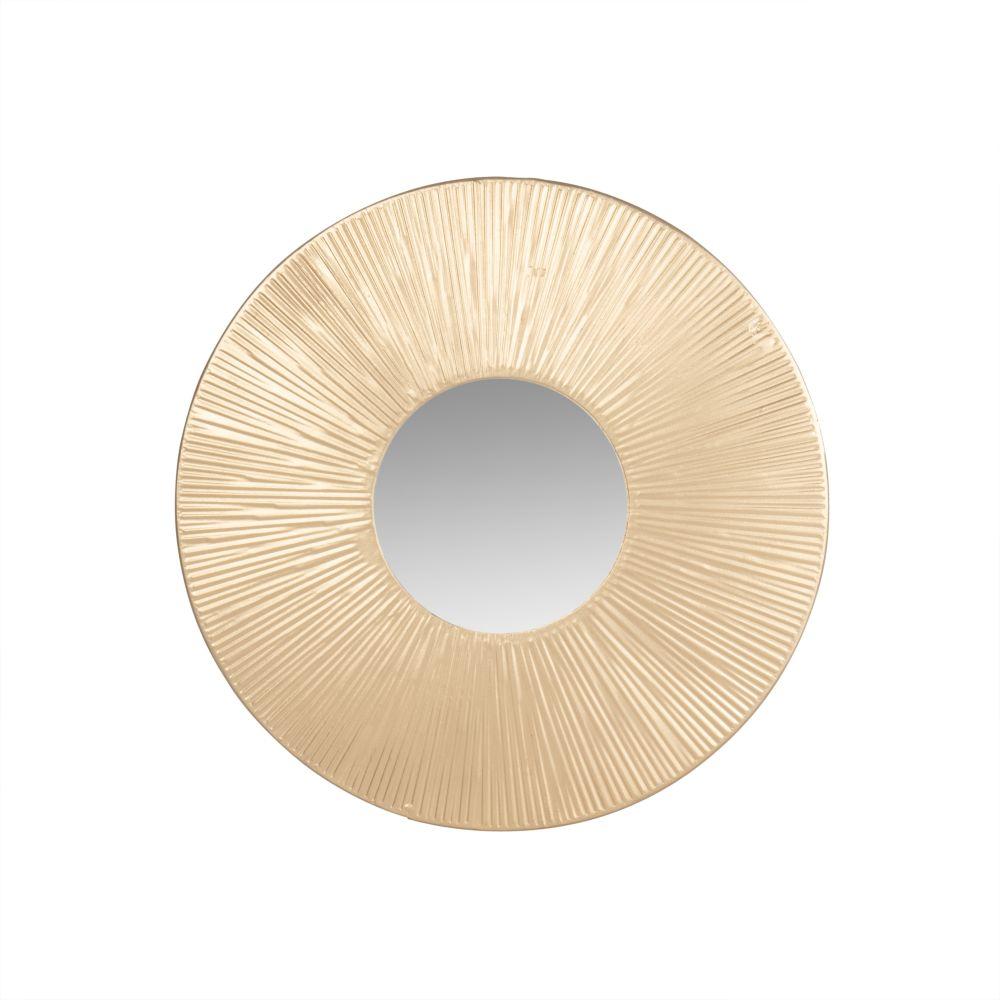 Runder Spiegel mit goldfarbenem Metallrahmen D25