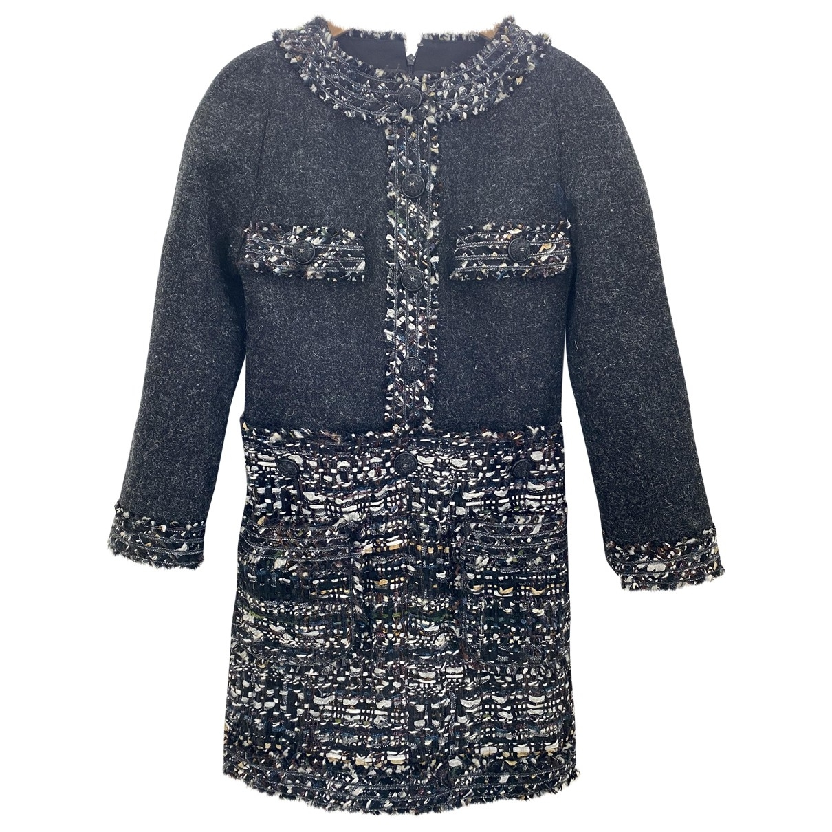 Chanel - Robe   pour femme en tweed - anthracite