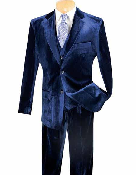 Navy Single Breasted 3 Piece Two Button Side Vent Velvet Vested Suits