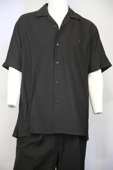 Mens Polka Dots Short Sleeve 2pc Walking Suit