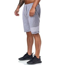 Men Stripe Drawstring Waist Track Shorts