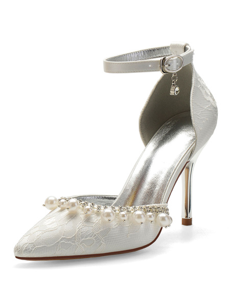 Milanoo Lace Wedding Shoes Ivory Pearls Pointed Toe Stiletto Heel Bridal Shoes