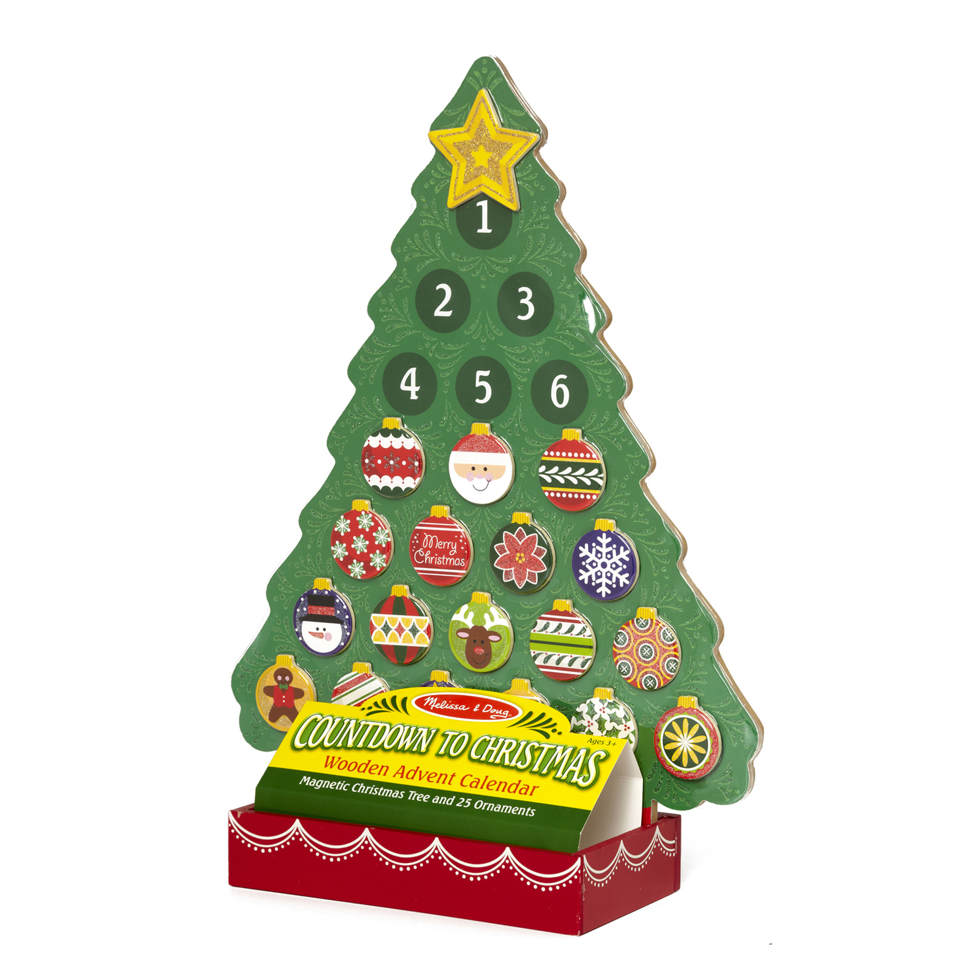 Countdown to Christmas Wooden Advent Calendar, Magnetic Tree, 25 Magnets