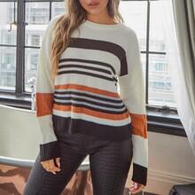 Drop Shoulder Striped Colorblock Sweater