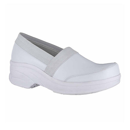 Easy Works By Easy Street Womens Attend Clogs, 8 Medium, White