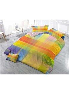 Simple Colorful Plaid Wear-resistant Breathable High Quality 60s Cotton 4-Piece 3D Bedding Sets