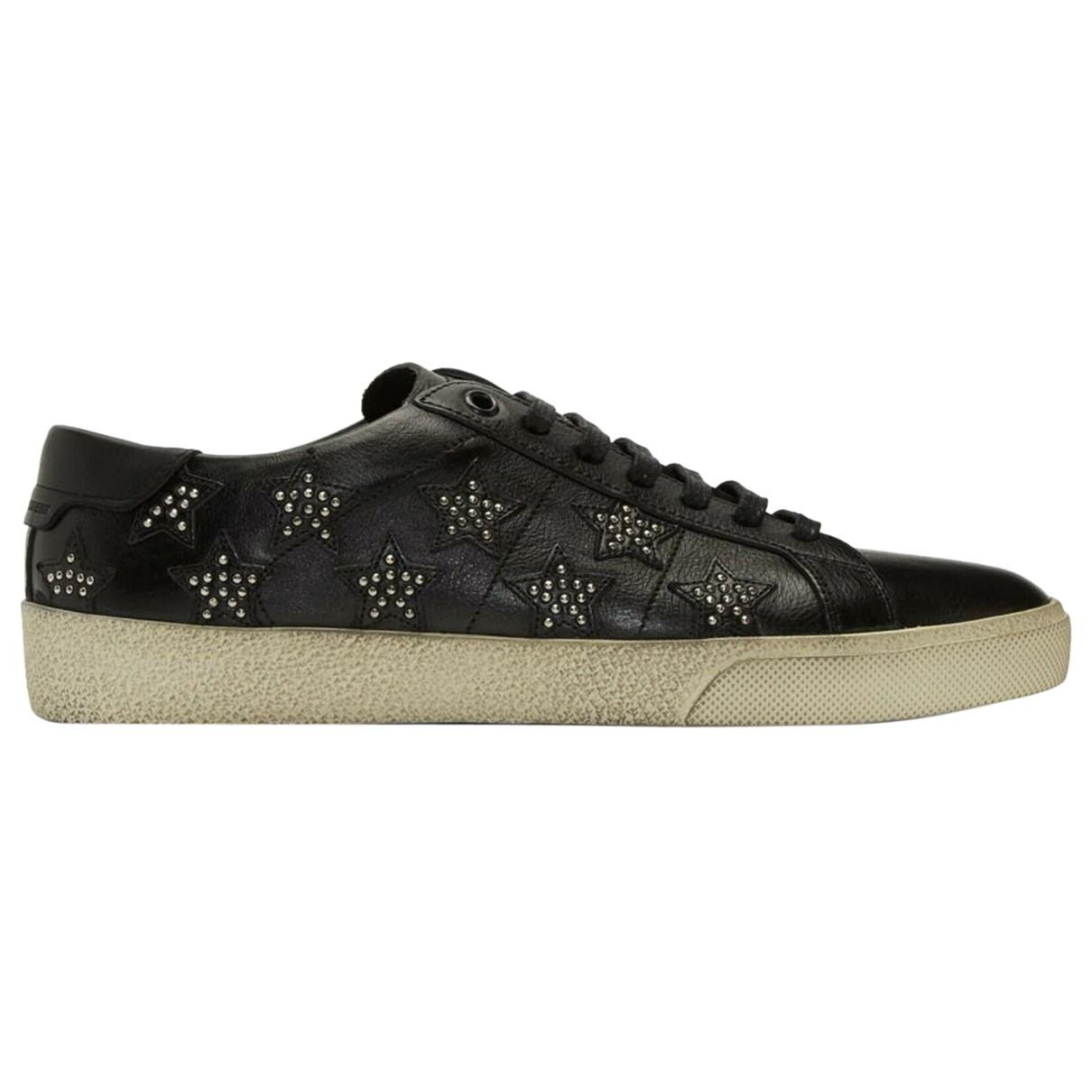 Saint Laurent Court Sneakers in  Schwarz Leder