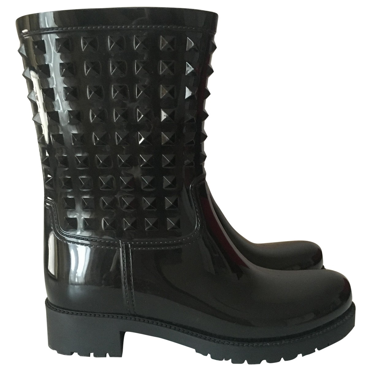 Valentino Garavani Rockstud Black Rubber Boots for Women 39 EU