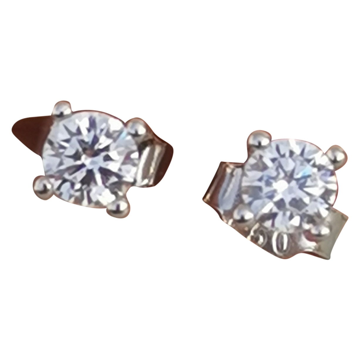 Non Signe / Unsigned Puces en diamants OhrRing in  Weiss Weissgold