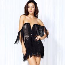 Sweetheart Zip Back Fringe Dress