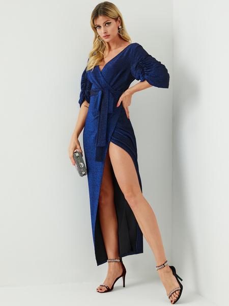YOINS Navy Glitter Belt Lace-up Design Slit Deep V Neck Lantern Sleeves Dress