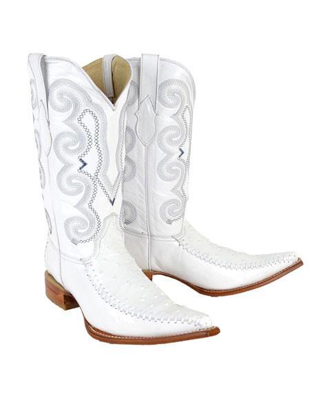 Mens Bota Hombre Imitacion Ostrich Blanco Dress Shoes