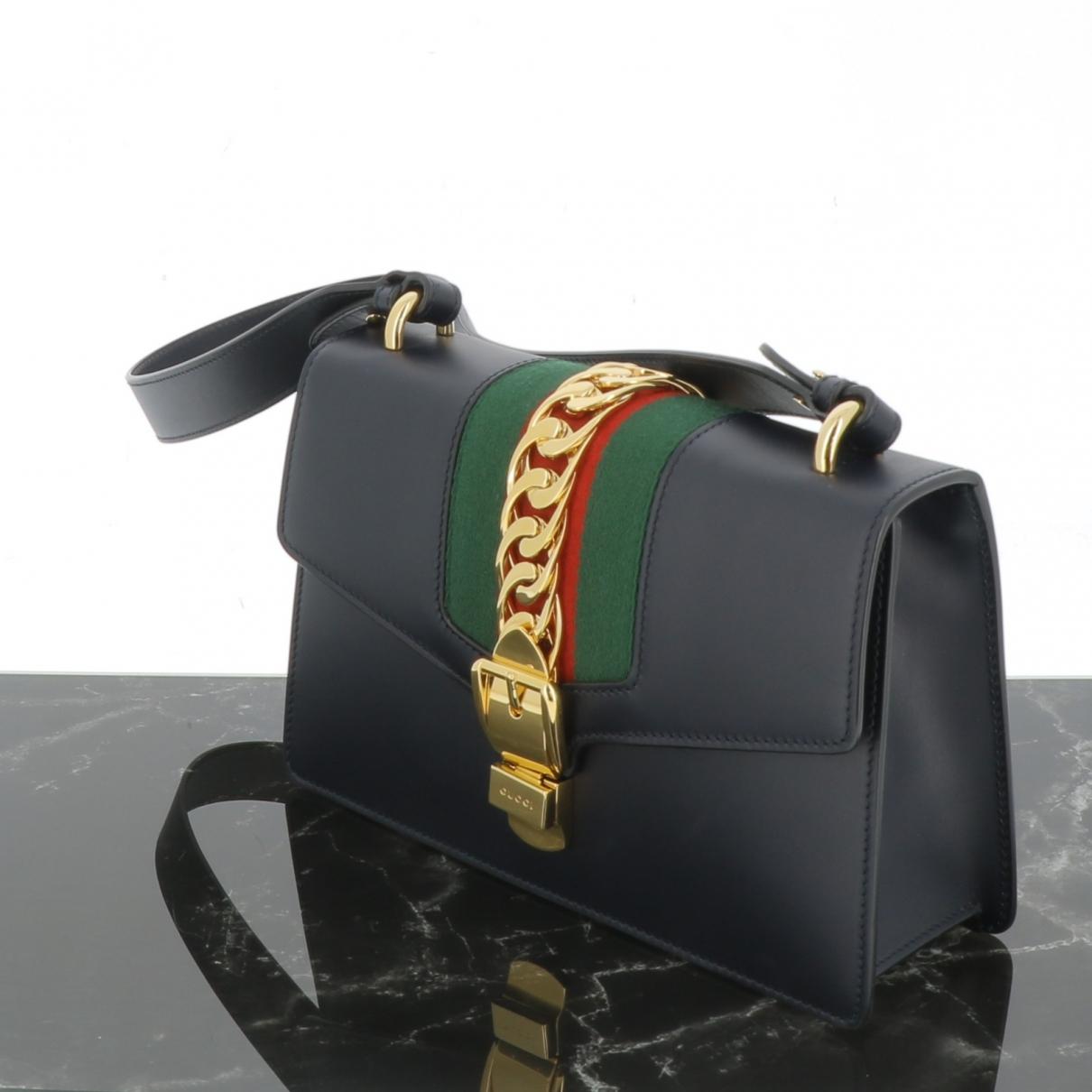 Gucci Sylvie Navy Leather handbag for Women \N