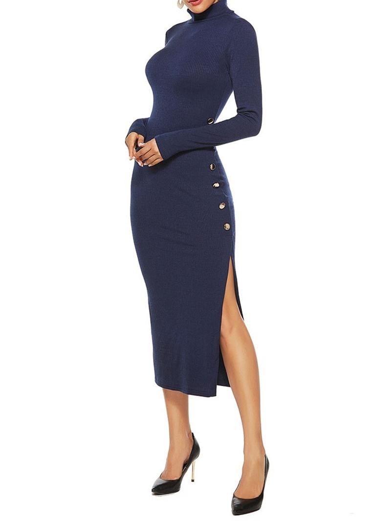 Ericdress Turtleneck Mid-Calf Button Fashion Pullover Dress