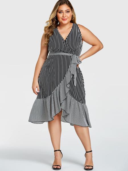 YOINS Plus Size Black Stripe Ruffle Trim V-neck Sleeveless Dress