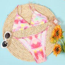 Tie Dye Triangle Thong Bikini Swimsuit