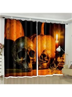 Decorative 3D Horrific Skull and Halloween Pumpkin Printed Festival Curtain for Living Room Bedroom