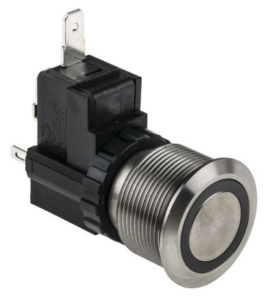 RS PRO Single Pole Single Throw (SPST) Momentary White LED Push Button Switch, IP67, 22.2 (Dia.)mm, Panel Mount, 250 / (20)