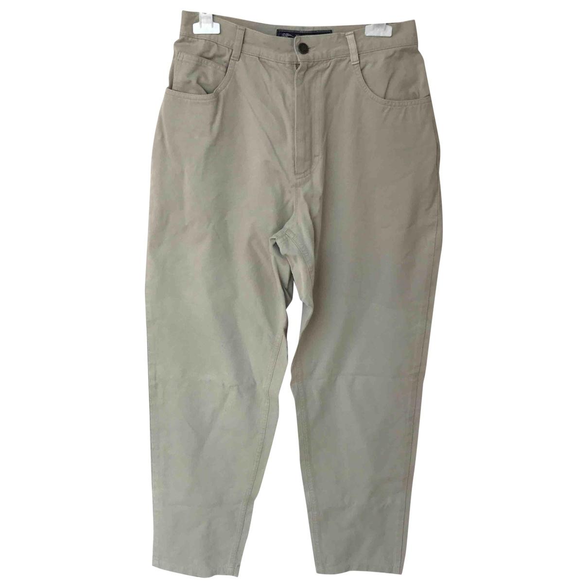 Burberry \N Beige Cotton Trousers for Women 44 IT