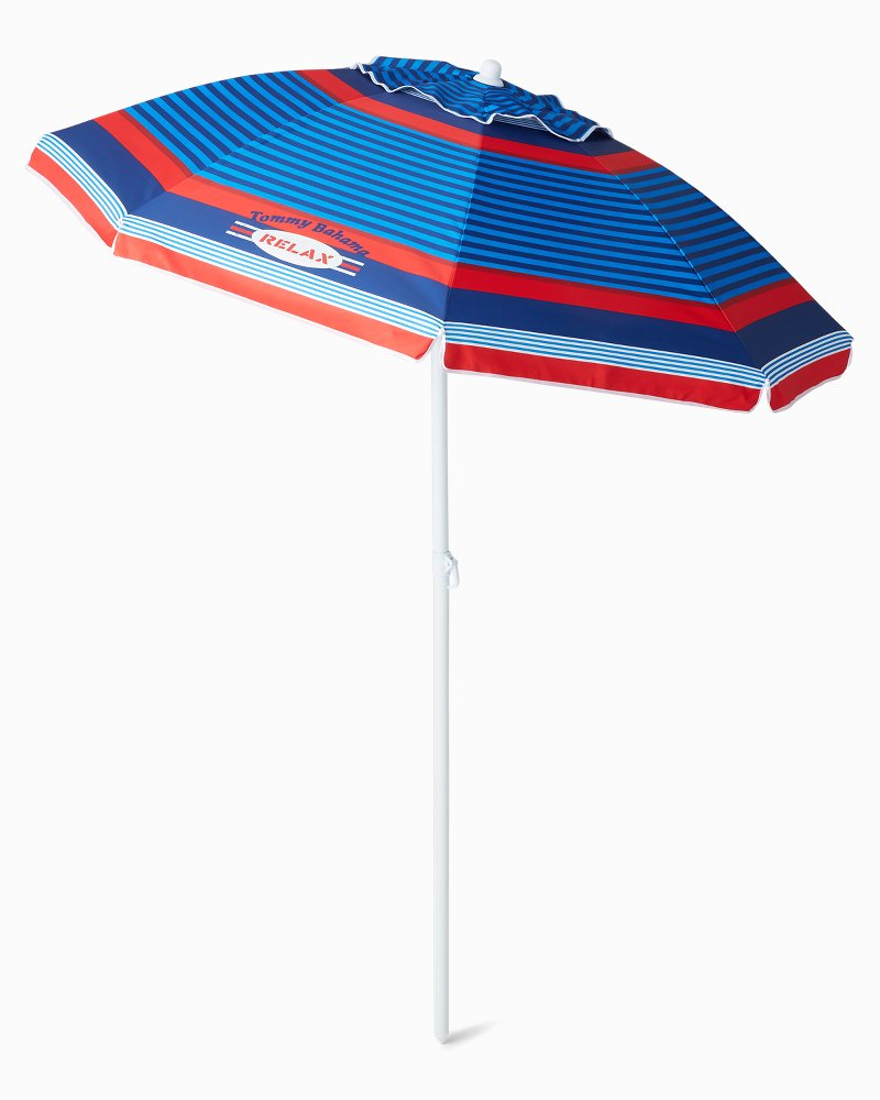 6' Red Printed Beach Umbrella
