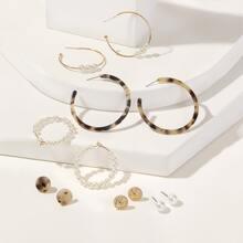 Set de pendientes de aro con diseño de perla artificial 6 pares