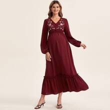Maternity Lantern Sleeve Floral Embroidery Buttoned Front Dress
