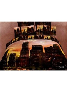 Morden City in the Dusk with High Buildings and Large Mansions Print 4 Piece Bedding Sets/Duvet Cover Sets
