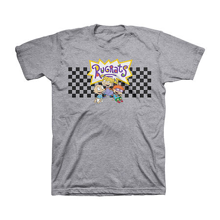 Rugrats Big Boys Crew Neck Short Sleeve Graphic T-Shirt, Medium (10-12) , Gray