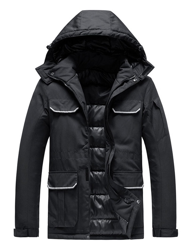 Ericdress Hooded Block Zipper Casual Men's Down Jacket
