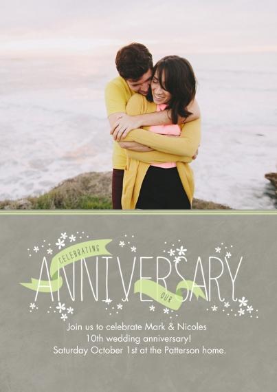 Anniversary 5x7 Cards, Premium Cardstock 120lb, Card & Stationery -Celebratory Ribbons