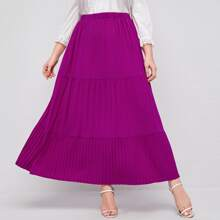 Plus Elastic Waist Pleated Hem Tiered Skirt