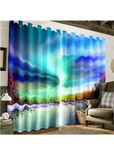 Magnificent Aurora Printed 2 Panels Custom 3D Curtain for Living Room