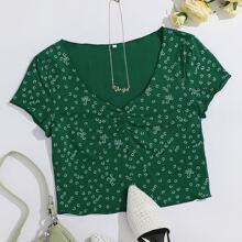 Camisetas Drapeado floral de margarita Casual